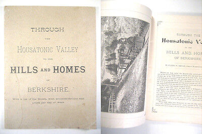 1884 Housatonic Valley Berkshire Mountains CT MA Booklet-Color RR Map,Wood Cuts