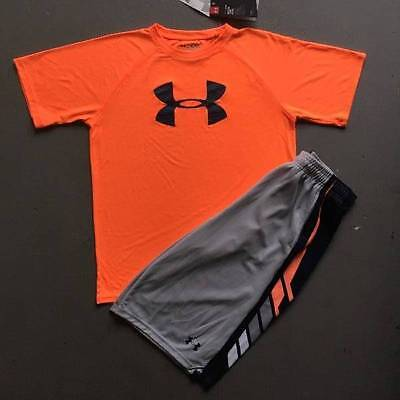 Boy's Xl (18/20) Under Armour Orange Shirt & Gray Shorts Outfit Nwt