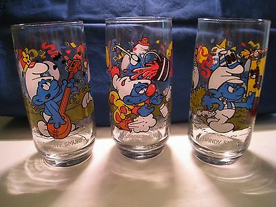 Lot 3 Glasses Vintage 1983 Harmony Clumsy & Handy Smurf Character Drinking Glass