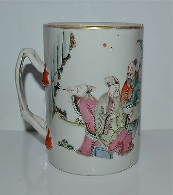 Antique Chinese Famille Rose Scholars Tankard Mug 18th/19th C