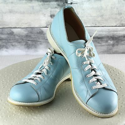 Linds Vintage Leather Bowling Shoes Baby Blue Right Handed Womens 10.5 AA Narrow