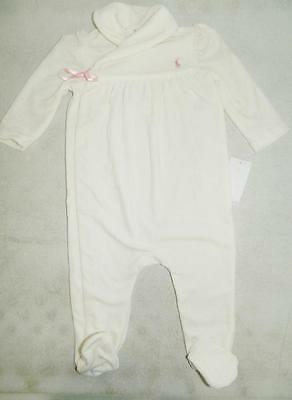 Ralph Lauren Baby Girls Long Sleeve Bodysuit One Piece Off White NWT Size 9 M