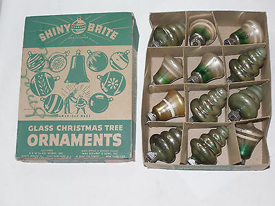12 Vintage Glass Shiny Brite Christmas Ornaments With Box! 2 Different Shapes!