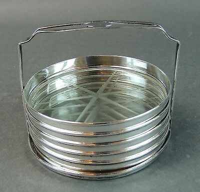 Webster Sterling Silver and Etched Glass Coaster with Caddy - Set