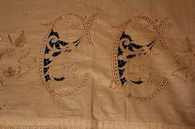 Antique Pillow Cases Sheet Set Monogram Embroidered With Lace Trim
