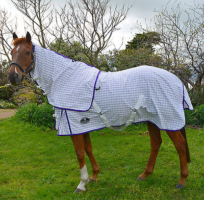 Purple White Cotton Horse Rug Detachable Neck Ripstop Show Summer Sheet Satin Li