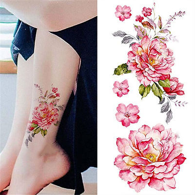 Waterproof Temporary Tattoo Sticker Watercolor Peony Flower Arm Body Art Decal