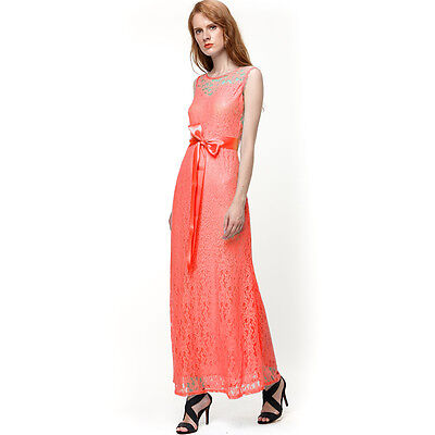 New Women Long Lace Evening Formal Cocktail Party Ball Bridesmaid Dress Coral