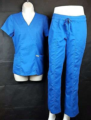 Women's Grey's Anatomy Uniform Blue XS Top XS Bottom Scrub Set Dental Medical