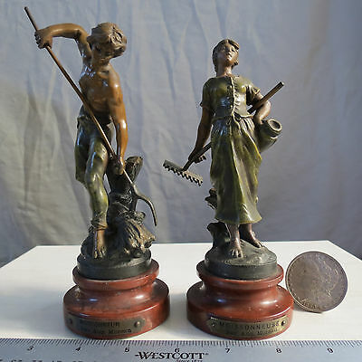 "Auguste Moreau Antique French Spelter Statues 7.12"" & 6.5"" RARE Gorgeous! 1895"