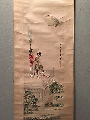 Vintage Chinese Watercolor Painting Scroll Dated 1931 by Unknown Artist 吳映雲