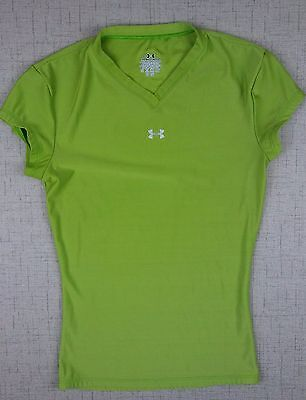 Under Armour Kids Childrens Youth Size Small Green Vneck Short Sleeve Shirt Top