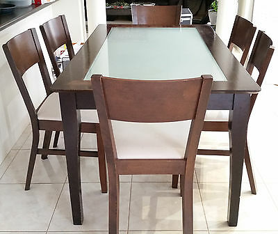 dining table with frosted glass insert with 6 upholstered chairs aud picclick au. Black Bedroom Furniture Sets. Home Design Ideas