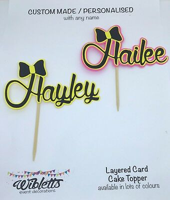Personalised Custom Any Name Emma Wiggle Yellow Black Bow Bowtiful Cake Topper