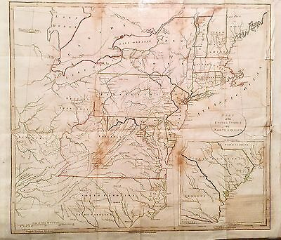 Original 1798 Large Map Of The United States, J. Stockdale. Colored