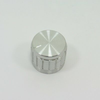 Silver Switch Aluminum Knob 6mm Dia Rotary Volume Control Pot Knurled Shaft T22