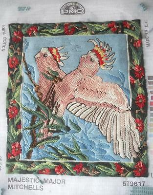 Vintage Completed Long Stitch Tapestry Major Mitchell Cockatoos Frame Upcycle
