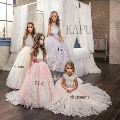 Girls Lace Dress Bridesmaid Party Princess Prom Wedding Christening 2-14 Years