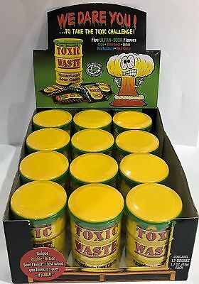 901404 576g BOX OF 12 DRUMS OF TOXIC WASTE, HAZARDOUSLY SOUR CANDY! GREAT VALUE