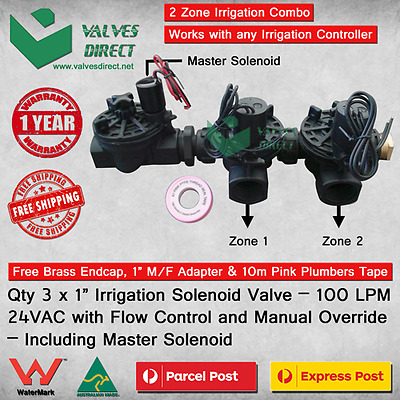 1 inch(25mm) Irrigation Solenoid 24V AC 100 LPM-Manual Override and Flow Control