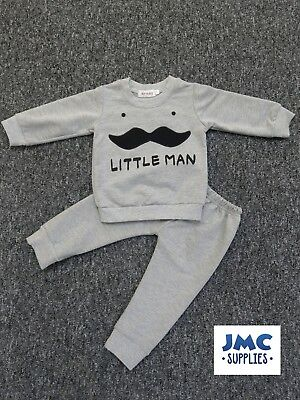 Boys tracksuit grey little man jumper bottom outfit age 6-9/9-12/12-18/18-24