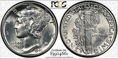 1941-D 10C Mercury Dime PCGS MS63FB Full Band #83924661 with TrueView