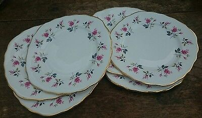PRETTY VINTAGE DITSY ROSE BONE CHINA SIDE PLATES x6 PINK Royal Osborne Excellent