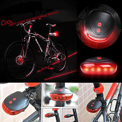 NEW LED Laser Bicycle Cycle Bike Red Beam Rear Lights Back Tail Lamp Light