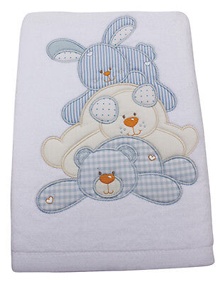 4Baby Bath Towel Teddy - White Blue