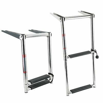 2 Step Telescoping Swim Marine Boat Ladder Stainless with built in handle New