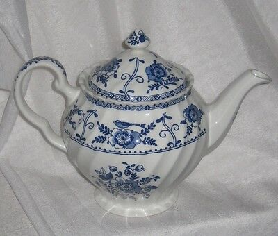 Blue and White China Porcelain Teapot Indies Pattern - Johnson Brothers England