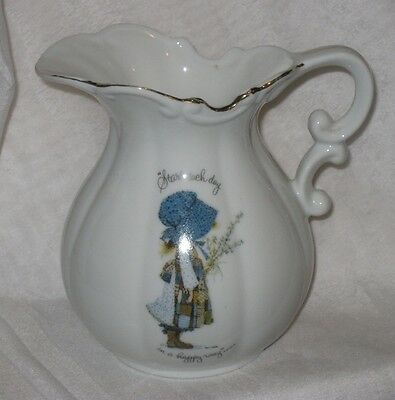 Vintage Holly Hobbie Porcelain Wash Jug Start Each Day in a Happy Way