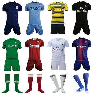 17/18 Soccer Football Club Star Jersey Short Sleeve Kit 3-14 Yrs Kids Sportswear