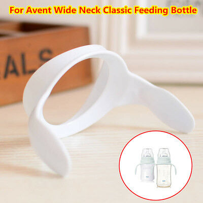 1/2x White Bottle Handles Grips For Avent Wide Neck Classic Feeding Baby Bottle