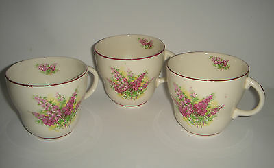 3 x Tea Cups Floral Spray Made in England Pretty Vintage Orphan Lot
