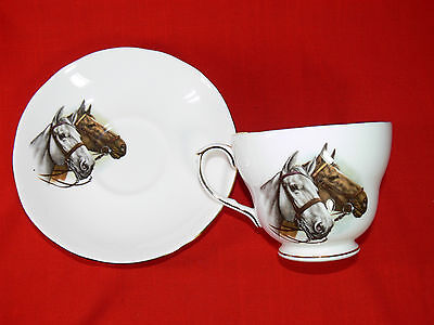 "Vintage DUCHESS FINE BONE CHINA Cup and Saucer Duo Set ""Horses"" MADE IN ENGLAND"