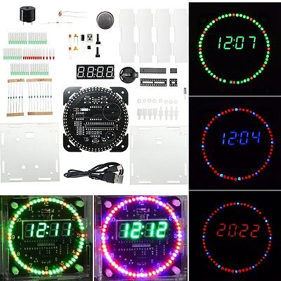 Rotating LED Electronic Temperature DS1302 Display Digital Clock DIY Kit+Box New