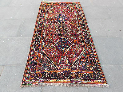 Antique Traditional Hand Made Persian Oriental Reds Wool Rug 228x115cm