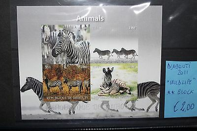"Francobolli Djibouti 2011 ""wildlife Zebra Savana Animals"" Mnh** Block (Cat.j)"