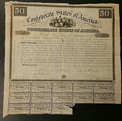 Ball 1 CR-5A $50 Confederate Bond 1861 - Two females