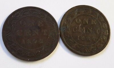 Lot Of 2  Canada One Cent Coins 1884 And 1892  (S464)