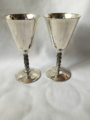 Pair Silver Plated Valero Wine Goblets Made In Spain