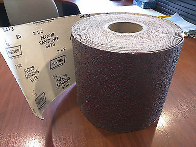 "2 Rolls - 20 Grit Norton Durite Floor Sanding Roll 8"" x 25 yards total 8"" x 50yd"