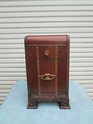 1930`S 40`s BEAUTIFUL ART DECO WATERFALL NIGHTSTAND~ENDTABLE w/ DRAWER & CABNT
