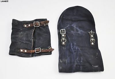 Original PAIR of blue canvas gaiters spats - Swedish Army WWII - double buckle