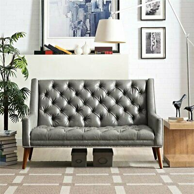 Modway Peruse Faux Leather Loveseat in Gray