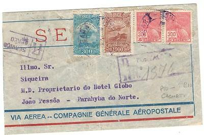 a234 Brazil Registered Airmail cover with cachet