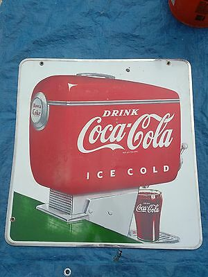 Vintage Coca Cola Porcelain Fountain Double Sided Sign 1950's