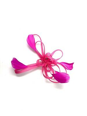 Fuchsia Pink Feather Fascinator Hair Clip Ladies Day Races Party Wedding