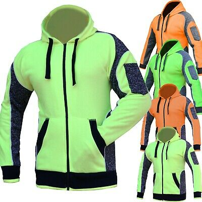 Hi Vis Fleece Jacket Hoodie Jumper Panel with Piping Full Zip AS/NZS 4602.1:2011